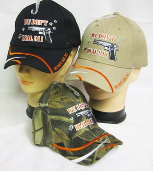 Wholesale Clothing, Gun Hats - CAP973C We don't dial 911 Cap