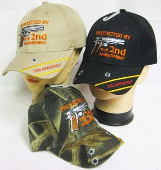 T Shirts Hats Wholesale Bulk Supplier, Gun Logo Hats for Men - MSC Distributors - CAP973D Protected by the 2nd Cap