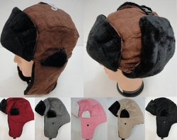 Wholesale, Winter Clothing, Women�s Men's Winter Apparel - WN134. Aviator Hat with Fur Trim--Suede