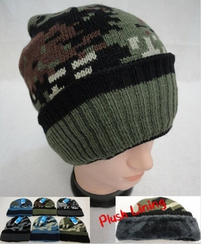 Wholesale, Winter Clothing, Women's Men's Winter Apparel - WN914. Knitted Winter Hat [Assorted Camo] Plush Lining