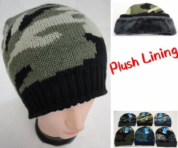 Wholesale, Winter Clothing, Women's Men's Winter Apparel - WN915. Knitted Winter Beanie [Assorted Camo] Plush Lining