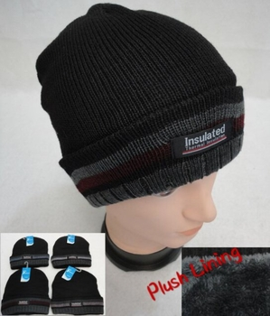 Wholesale, Winter Clothing, Women's Men's Winter Apparel - WN916. .Insulated Knitted Winter Hat [Striped Fold] Plush Lining