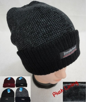 Wholesale, Winter Clothing, Women's Men's Winter Apparel - WN918. .Insulated Knitted Winter Hat with Plush Lining [Two-Tone]