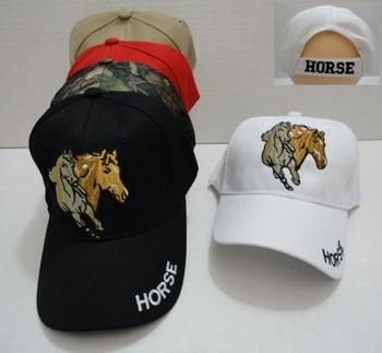 Wholesale T Shirts, Wholesale Hats, Wholesale Apparel Bulk Cheap Discount Baseball Caps T Shirts Clothing - Wholesale Bulk - HT693. Two Horses Hat [HORSE on Bill]