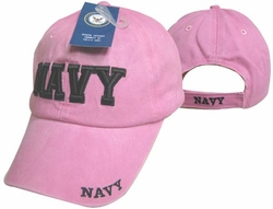 Wholesale Clothing, Navy Apparel Military Wholesale T Shirts Embroidered Logo Baseball Hats Caps Bulk Suppliers - CAP602DP NAVY Cap Pink color