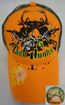 Wholesale T Shirts, Wholesale Hats, Wholesale Apparel Bulk Cheap Discount Baseball Caps T Shirts Clothing - Wholesale Bulk - HT559. Deer Hunter with Deer Skull [BORN TO HUNT on Bill]