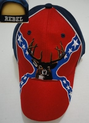 Rebel Hunting Hats Wholesale Merchandies Flea Market Bulk Supplier - HT613. Large Rebel Flag with Buck Hat