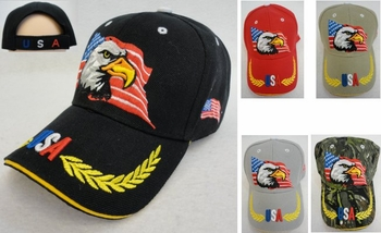 Wholesale Military Patriotic Hats and Caps Suppliers - HT786. Eagle with Flag Hat [USA Wreath on Bill]