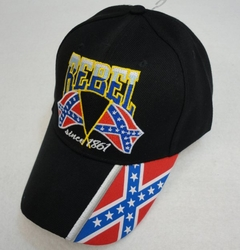 Rebel Patriotic Baseball Caps Hats Wholesale Bulk Suppliers - HT573. Rebel Hat [Since 1861] Rebel Flag on Bill