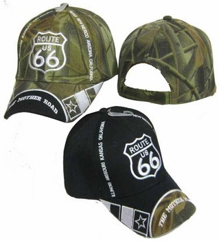 Wholesale Men's Hats and Caps - CAP981A Route 66  States on 2-side Cap