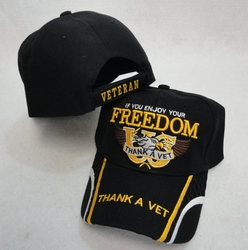 Thank a Veteran Military Patriotic Baseball Caps Hats Wholesale Bulk Suppliers - HT125. IF YOU ENJOY YOUR FREEDOM-THANK A VET Hat
