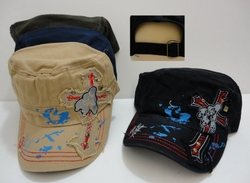 Wholesale Fashion Hats - HT379. Cloth Hat-Cross with Skulls