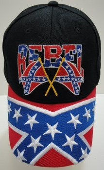 Rebel Baseball Caps Hats Wholesale Bulk Suppliers - HT424. Rebel Flag Hat-Rebel on the Bill