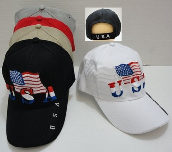 Patriotic Baseball Caps Hats Wholesale Bulk Suppliers - HT521. USA Flag Hat [Flag Shadow]