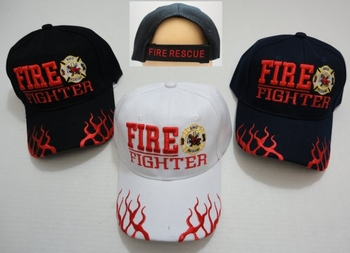 Wholesale T Shirts, Wholesale Hats, Wholesale Apparel Bulk Cheap Discount Baseball Caps T Shirts Clothing - Wholesale Bulk - HT684. FIRE FIGHTER Hat with Maltese Cross [Flames on Bill]