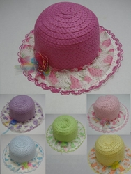 Wholesale Fashion Hats HT840. Girl's Summer Hat with Lace Ruffle