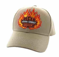 Wholesale Clothing, Christian Caps and Hats - Bulk Wholesale Christian Hats -Jesus Christ Velcro Cap (Solid Khaki) - VM596