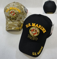 Wholesale Military Clothing Apparel Baseball Hats Caps Bulk - Marine Corps Dad - Colors