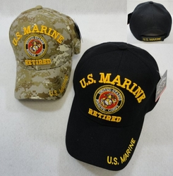 Marine Corps Retired Military Apparel T Shirts Wholesale Hats Caps Embroidered Baseball Logo Supplier Bulk - Marine Corps Retired Hats - MSC Distributors