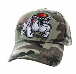 Hats Caps Wholesale Bulk Supplier - Military Patriotic Veteran - Marine Bull Dog Velcro Cap (Military Camo ) - VM461-03