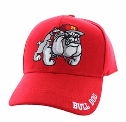 Headwear Hats Caps Wholesale Bulk Supplier - Military Patriotic Veteran - Marine Bull Dog Velcro Cap (Solid Red) - VM461-02