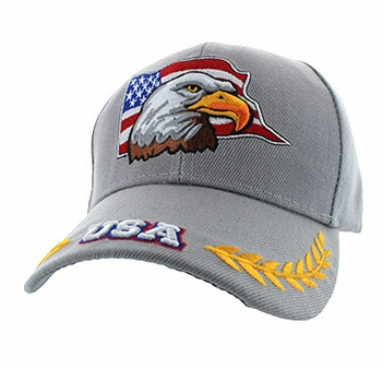Men's Hats Caps Wholesale Bulk Wholesaler Hat Cap Supplier - VM225-08 American USA Eagle Velcro Cap (Solid Light Grey)