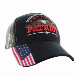 Wholesale Clothing, Military Hats Wholesale Bulk Supplier - VM780-01 American USA Eagle Velcro Cap (Solid Black )