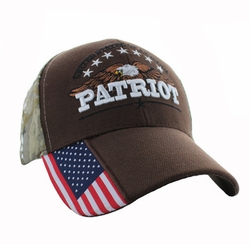 Wholesale Clothing, Military Hats Wholesale Bulk Supplier - VM780-03 American USA Eagle Velcro Cap (Solid Brown)