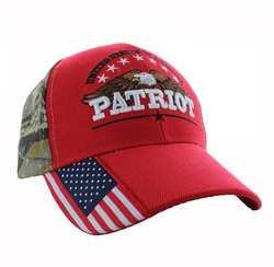 Wholesale Clothing, Military Hats Wholesale Bulk Supplier - VM780-04 American USA Eagle Velcro Cap (Solid Red)