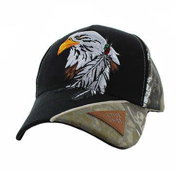Men s Hats Caps Wholesale Bulk Wholesaler Hat Cap Supplier - VM791-06  Native Pride Eagle Velcro Cap (Black   Hunting Camo) 4fa67e4fdd2