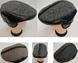 Hats Wholesale Bulk Supplier Blank - WN935. Warm Ivy Cap with Ear Flaps [Leather-Like Strips]