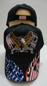 Wholesale T Shirts, Wholesale Hats, Pow Mia Caps Hats Eagle Patriotic Baseball Wholesale Bulk Suppliers - HT731. Eagle Hat [Flag POW Wings] Flag Flame on Bill