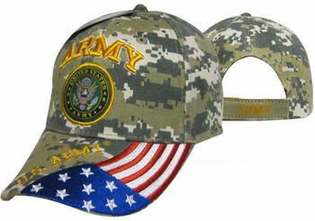 Wholesale Hats Caps - CAP601GC Army Emblem Flag Cap Camo