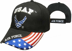 Clothing Caps Hats Wholesale Bulk Supplier Military - CAP603GB AF Logo Flag on Bill Cap Bk