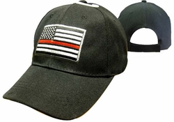 Clothing Caps Hats Wholesale Bulk Supplier Clothing Apparel Military - CAP650 US Flag Red Line Cap