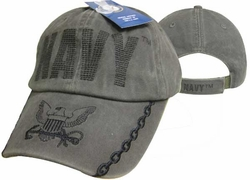 Navy Hats Caps Wholesale Bulk Supplier - Military CAP596CMB Navy Logo on Bill Cap OD
