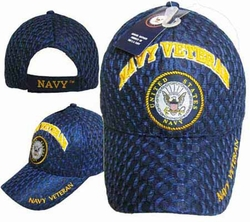 Hats Caps Wholesale Bulk Supplier - Military CAP592H Navy Emblem Vet Cap