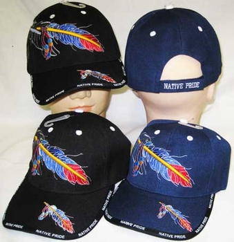 Wholesale Bulk Mens Hats and Caps Suppliers Native American - CAP642 Native Pride Feather Cap
