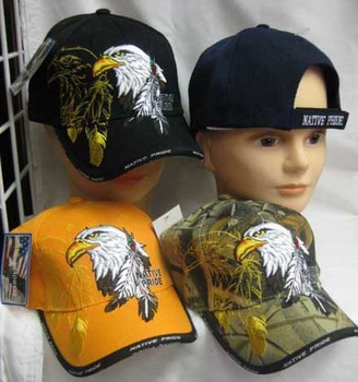 Wholesale Bulk Mens Hats and Caps Bulk Suppliers Wholesale Patriotic - CAP645G Eagle Feather Cap