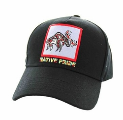 Wholesale Native Pride Indian Embroidered Logo Baseball Hats Caps - Native Moose Cotton Velcro Cap (Solid Black) - VM604-09