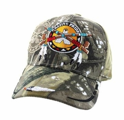 Wholesale Native Pride Indian Embroidered Logo Baseball Hats Caps - Native Pipe Velcro Cap (Solid Huting Camo) - VM265-04