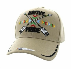 Wholesale Native Pride Indian Embroidered Logo Baseball Hats Caps - Native Pride Arrow Velcro Cap (Solid Khaki) - VM485-02