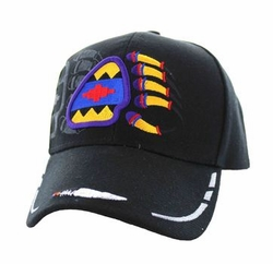 Wholesale Native Pride Indian Embroidered Logo Baseball Hats Caps - Native Pride Bear Claw Velcro Cap (Solid Black) - VM264-10