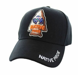 Wholesale Native Pride Indian Embroidered Logo Baseball Hats Caps - Native Pride Buffalo Velcro Cap (Solid Black) - VM443-01