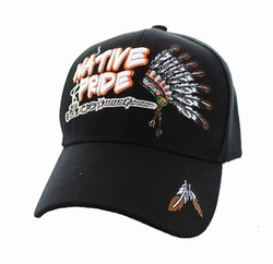 Wholesale Native Pride Indian Embroidered Logo Baseball Hats Caps - Native Pride Chieftain's Peace Pipe Velcro Cap (Solid Black) - VM442-0