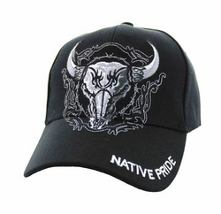 Wholesale Native Pride Indian Embroidered Logo Baseball Hats Caps - Native Pride Cow Skull #2 Velcro Cap (Solid Black) - VM131-01