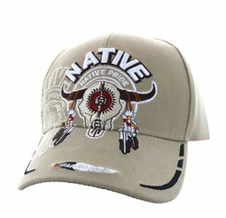 Wholesale Native Pride Indian Embroidered Logo Baseball Hats Caps - Native Pride Cow Skull Velcro Cap (Solid Khaki) - VM107-03