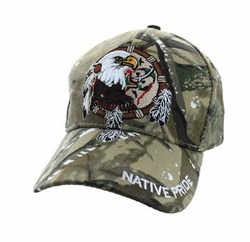 Wholesale Native Pride Indian Embroidered Logo Baseball Hats Caps - Native Pride Dream Catcher Eagle Velcro Cap (Solid Hunting Camo) - VM2