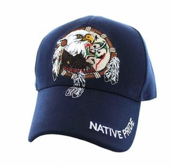 Wholesale Native Pride Indian Embroidered Logo Baseball Hats Caps - Native Pride Dream Catcher Eagle Velcro Cap (Solid Navy) - VM201-04