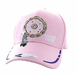 Wholesale Native Pride Indian Embroidered Logo Baseball Hats Caps - Native Pride Dream Catcher Velcro Cap (Solid Light Pink) - VM133-06